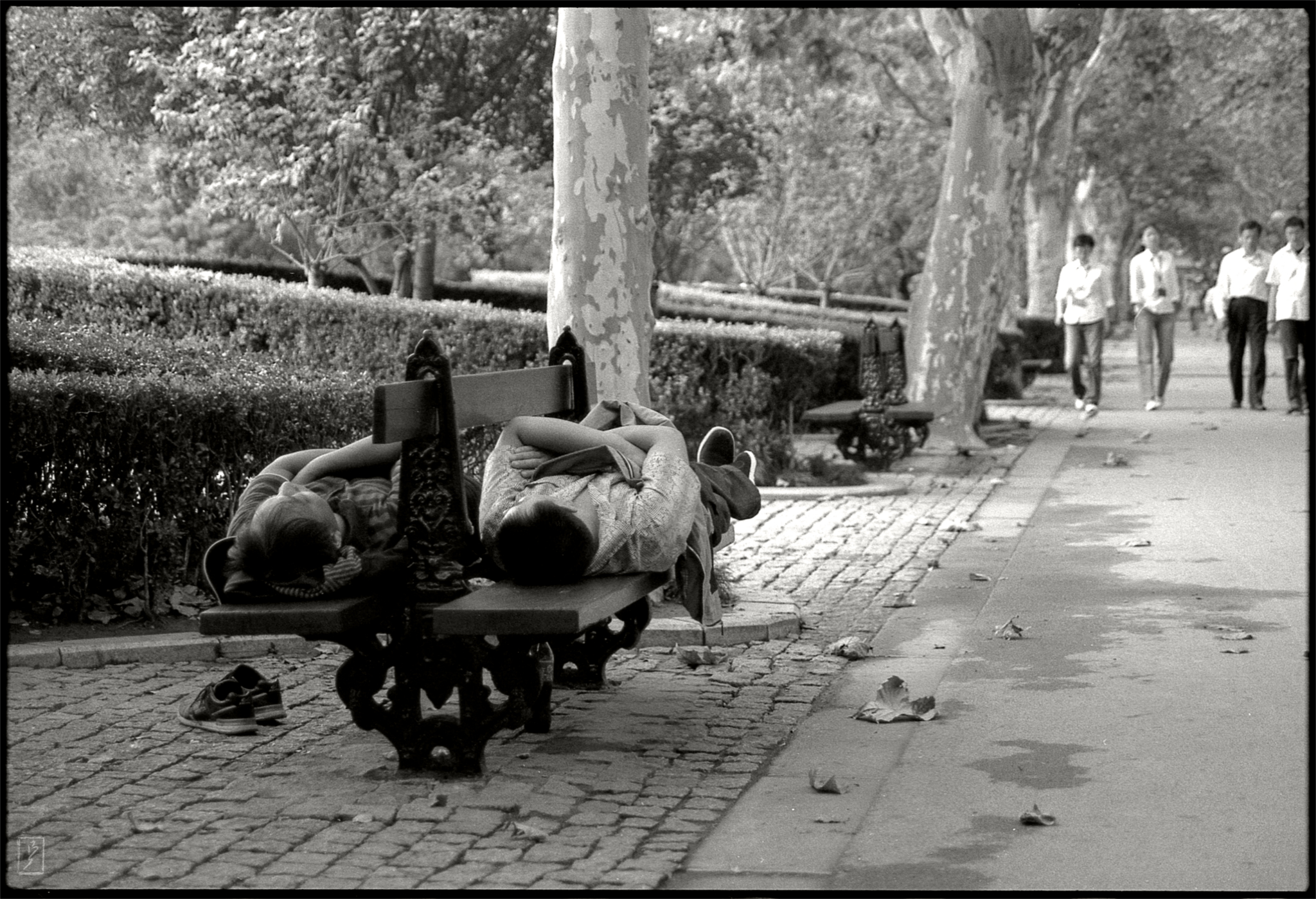 Fuxing park (复兴公园): Lunchtime nap on a bench.