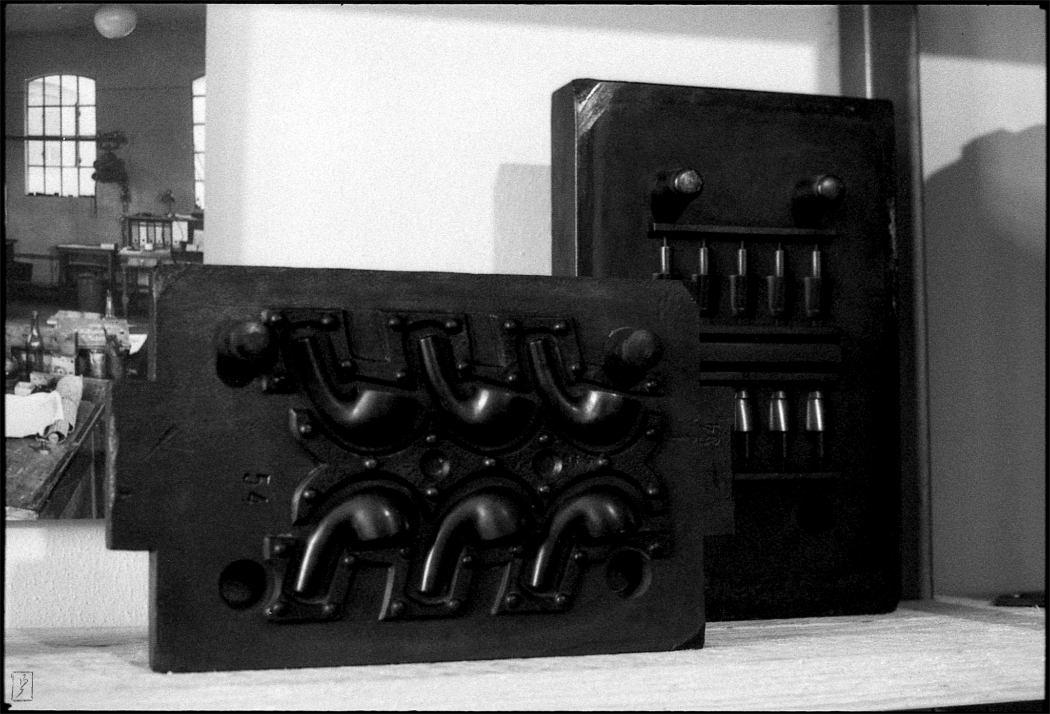 "Molds for pipes in the ""Museum der Arbeit"" (museum of labour) in Hamburg-Barmbek."
